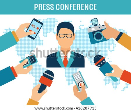 Press conference, interview concept, live report, vector illustration of many hands with microphones, recorders and speaker giving interview - stock vector
