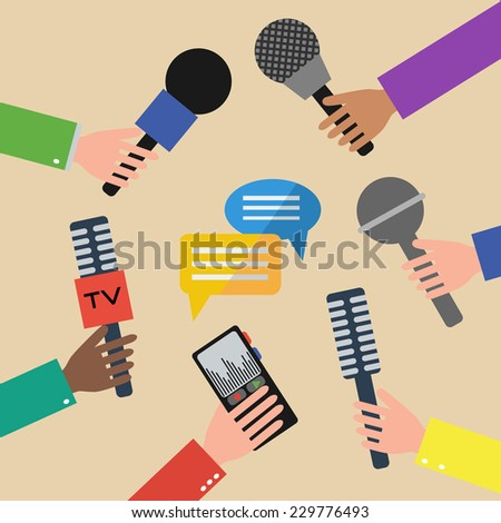 Press interview or presentation. Journalism concept illustration in flat style. Hands holding microphones and voice recorders. Hot news. Vector illustration. - stock vector