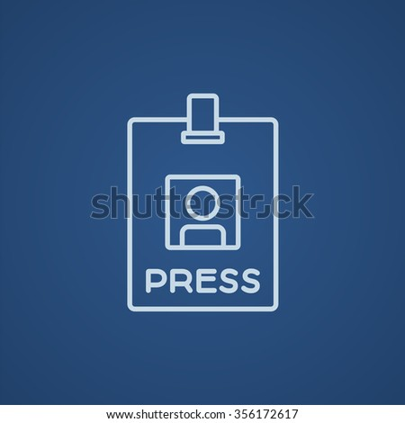 Press pass ID card line icon for web, mobile and infographics. Vector light blue icon isolated on blue background. - stock vector