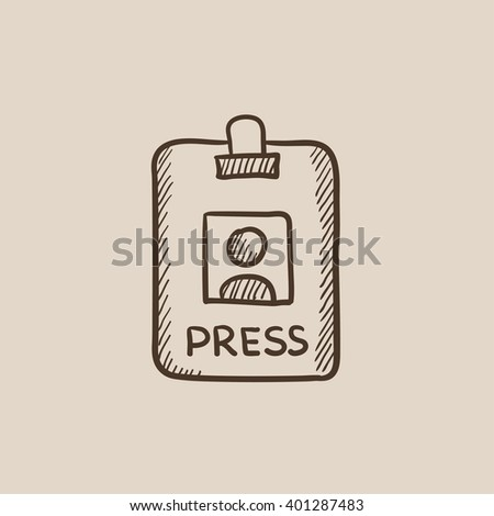 Press pass ID card sketch icon. - stock vector