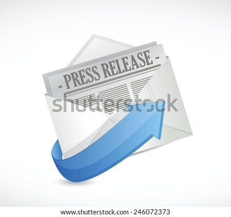 press release email illustration design over a white background - stock vector