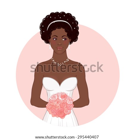 Pretty African American Bride in Her Wedding Dress with bouquet. Vector illustration. - stock vector