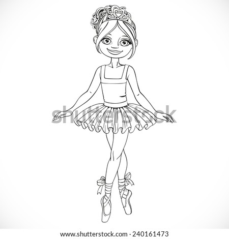 Pretty ballerina girl dancing in ballet tutu outlined isolated on a white background - stock vector
