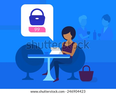 Pretty blackhair woman sitting in the cafe and doing shopping online. Flat modern style - stock vector