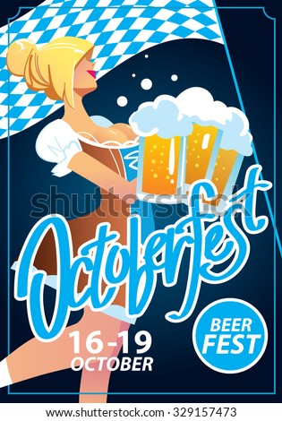 Pretty blond girl with beer, Oktoberfest poster - stock vector