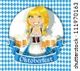Pretty Blond with a glass of beer celebrating Oktoberfest banner - stock vector
