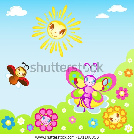 Pretty butterfly and Ladybug play in the Meadow - stock vector