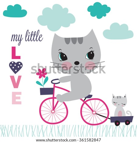Pretty cat with little cat on bicycle vector illustration - stock vector