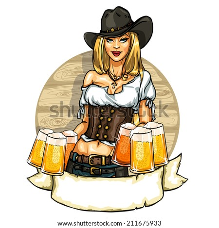 Pretty cowgirl with beer mugs, label isolated on white - stock vector