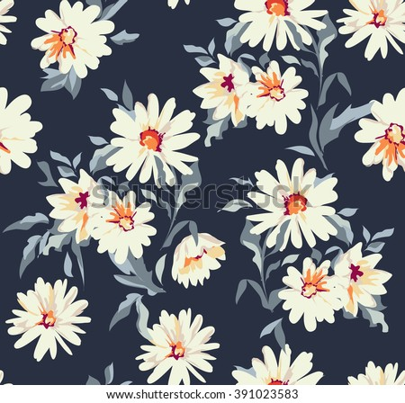 pretty daisy floral print ~ seamless background - stock vector