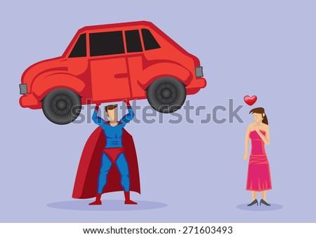 Pretty damsel in distress fall in love with superhero who shows off strength by lifting a car. Vector cartoon illustration isolated on plain purple background. - stock vector
