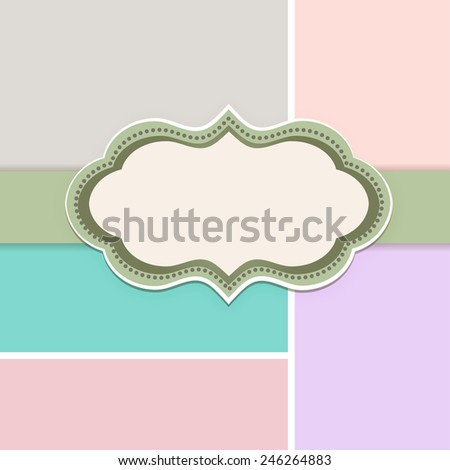 Pretty Decal with Copyspace and multicolored background  - stock vector