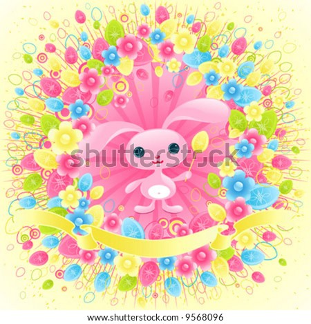 Pretty Easter bunny. Cute baby animal. - stock vector