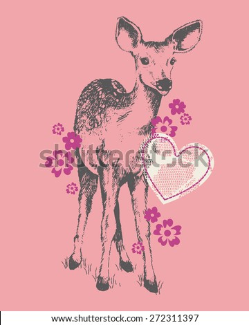 Pretty Fawn & Lace Baby/Toddler/Young Girls Tshirt Silkscreen - stock vector