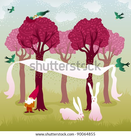 Pretty forest landscape with pink trees, nesting and flying love birds, a couple of easter bunnies and garden gnome - stock vector