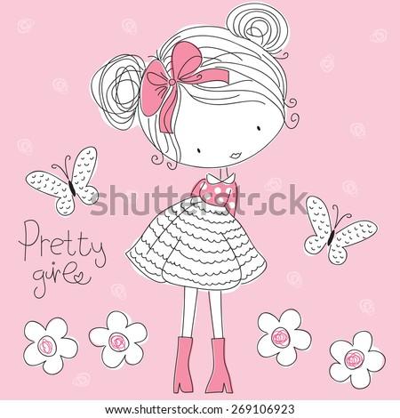 pretty girl vector illustration  - stock vector