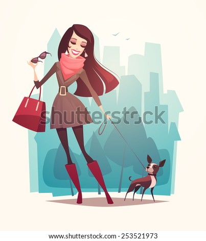 Pretty girl walking a dog. Vector illustration. - stock vector