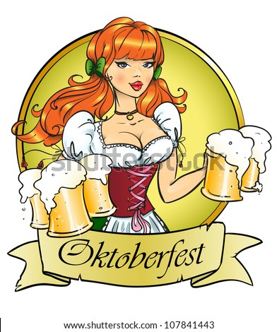 Pretty girl with beer, Oktoberfest or St. Patrick's day logo design with space for text, invitation - stock vector