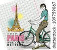 Pretty girl with bicycle on a eiffel tower background. Vector illustration - stock vector