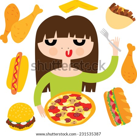 Pretty Girl with Fast Food - stock vector