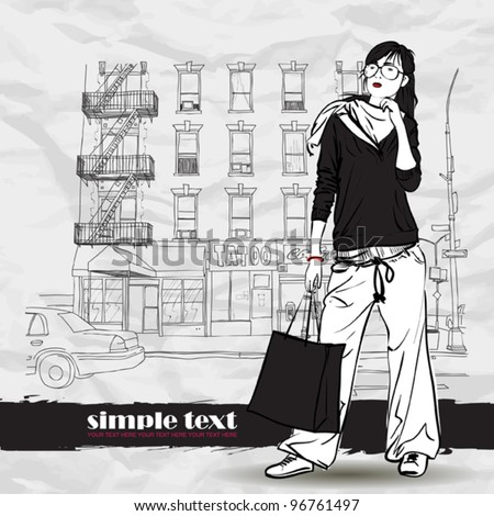 Pretty girl with shopping bag on a street-background. Vector illustrator. - stock vector