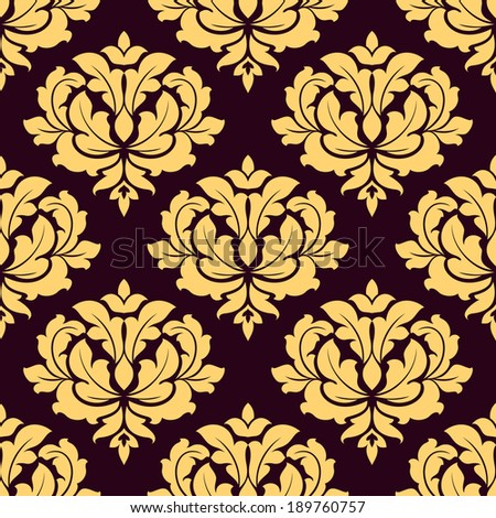 Pretty gold and brown damask style seamless pattern with foliate arabesque motifs in square format suitable for fabric or background design - stock vector