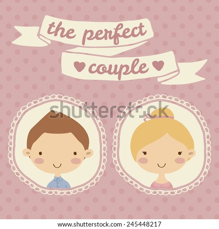 Pretty hand drawn poster with portraits of loving boy and girl in round frames for valentine's day, wedding in cute cartoon childish style. Doodle greeting card with pink seamless pattern background. - stock vector