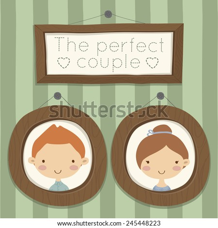 Pretty hand drawn poster with portraits of loving boy and girl in round wood frames for valentines day, wedding in cute cartoon childish style. Doodle greeting card with green striped background. - stock vector