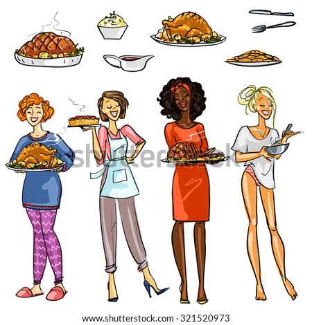 Pretty housewifes with meals - stock vector