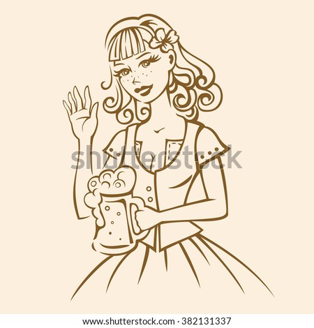 Pretty irish girl with clover in her hair holding the glass of beer and waving hand on the beige background. Vector linear illustration for Saint Patrick's Day.  - stock vector
