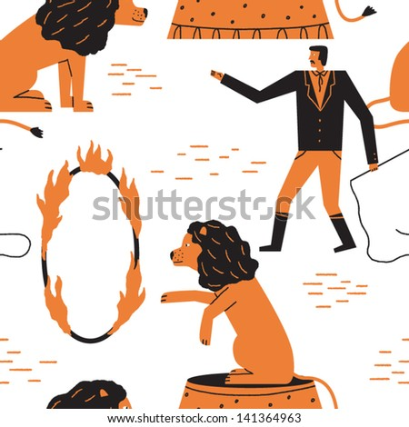 pretty lions in the circus vector seamless background - stock vector