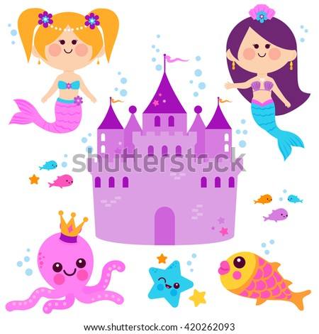 Pretty mermaid princesses, fish, octopus, and a castle vector set. - stock vector