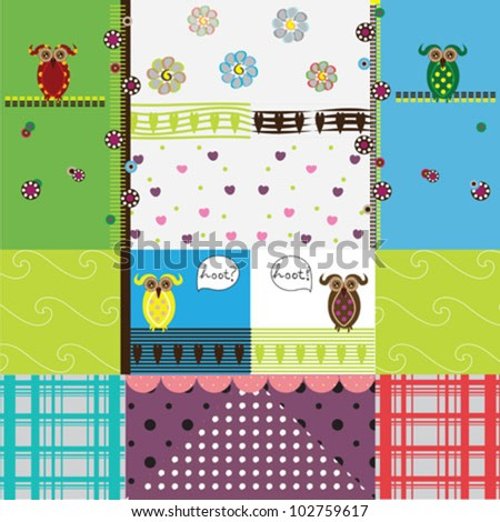 Pretty pattern with owls and retro lines - stock vector