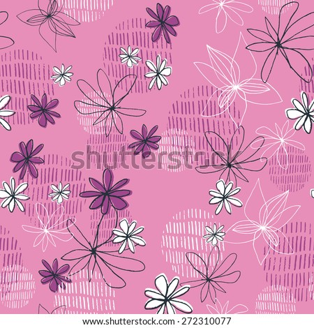 Pretty Pink Daisy Line Drawing Contemporary Floral Seamless Repeat Wallpaper - stock vector