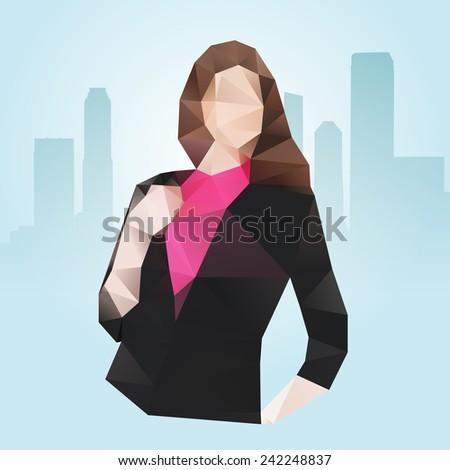 Pretty polygonal businesswoman or office secretary - stock vector