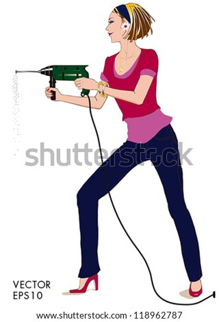 Pretty power woman drilling a hole with a drill machine. - stock vector