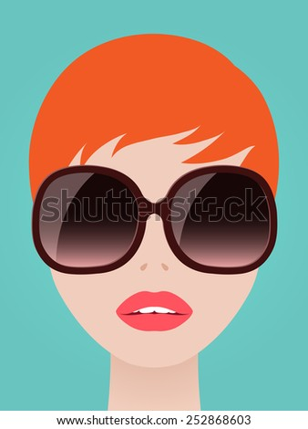 Pretty redhead woman with a neat short hairstyle wearing trendy large modern sunglasses over a blue summer sky, vector illustration - stock vector