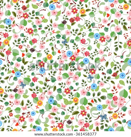 pretty seamless texture with tiny flowers.  - stock vector
