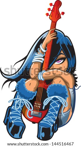 Pretty Shy Emo Goth Punk Rock Girl With Bass Guitar - stock vector