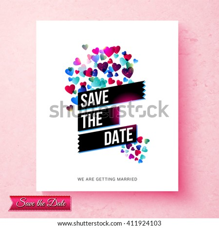 Pretty textured pink Save The Date wedding invitation with a cloud of scattered blue and red hearts and central black banners with the text over white, vector illustration - stock vector