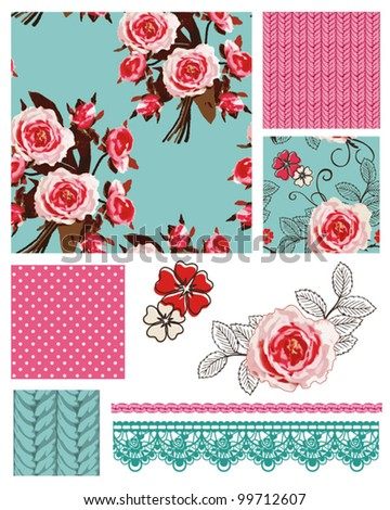 Pretty Vintage Vector Rose seamless patterns and icons.  Use to create stunning craft or textile projects. Ideal as patchwork pieces for quilts or Digital paper. - stock vector