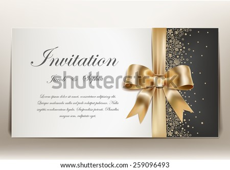 pretty wedding invitation with golden ribbon and bow. - stock vector