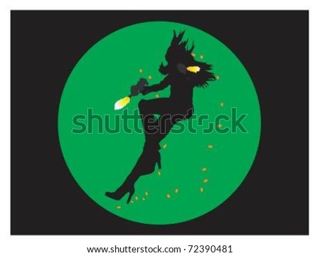 Pretty women shot by a sniper and Night vision sight . - stock vector