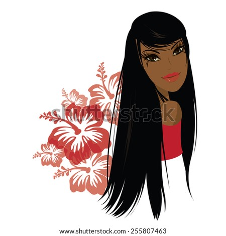 Pretty young african american woman, Vector illustration - stock vector