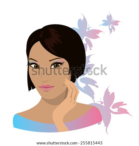 Pretty young asian woman  isolated in white. Vector illustration - stock vector
