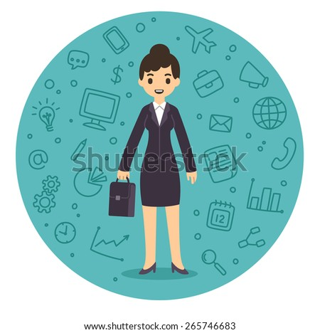 Pretty young businesswoman in cartoon style in suit with suitcase surrounded by a pattern of business related symbols. - stock vector