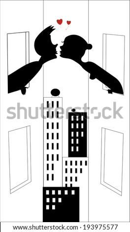Pretty young girl is kissing her boyfriend from window to window - stock vector