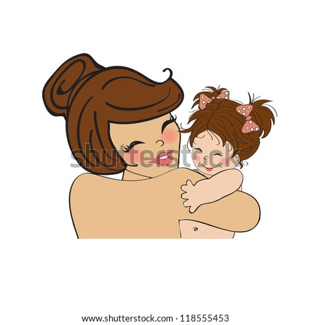 pretty young mother holding a new baby girl - stock vector