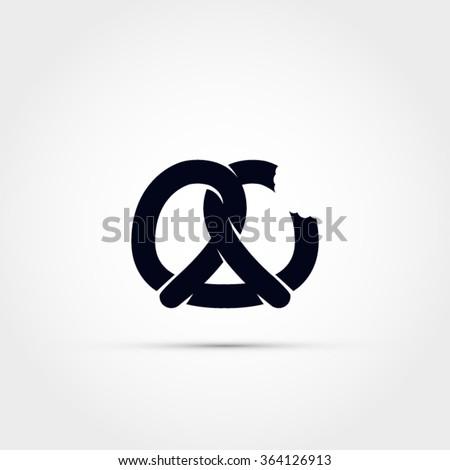 Pretzel icon - stock vector