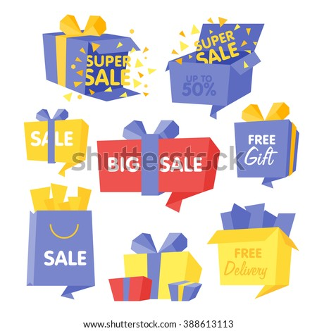 Price and Sale box set of vector Illustrations for web design - stock vector